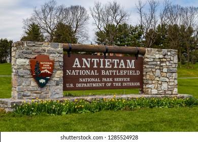 Sharpsburg, MD, USA - April 10, 2016: The National Park Service Antietam National Battlefield Welcome Center Sign near Sharpsburg, MD.