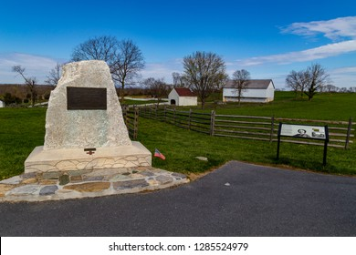 Sharpsburg, MD, USA - April 10, 2016: A granite monument recognizes Clara Barton's service during the Battle of Antietam.