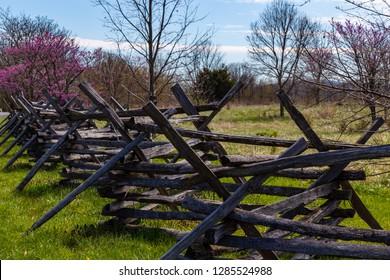 Sharpsburg, MD, USA - April 10, 2016: Split rail fence on the Antietam Battlefield.