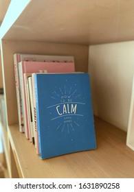 Sharq, Kuwait City / Kuwait - 10 January 2020: Calm book books wooden bookshelf mental health