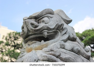 Shasa. Lion sculpture. In front of Japanese temple. closeup picture. Japan.