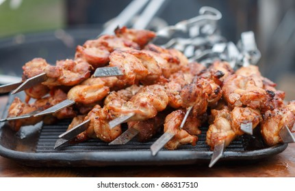Shashlik. Kebab. Grilled marinated meat with spices. Pork. Beef. Lamb. Selective focus