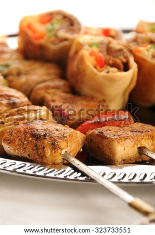 Shashlik Sharma On Plate Oriental Decoration Stock Photo Edit Now