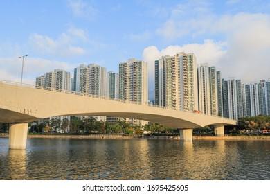Shatin, Hong Kong - 5 March, 2020 : City One and Shing Mun River in Hong Kong