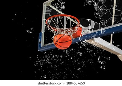 Shattered backboard.Basketball concept on dark background