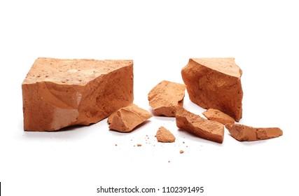 Shattered brick isolated on white