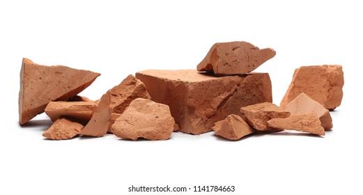 Shattered bricks isolated on white background