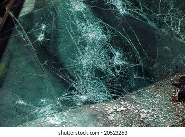 A Shattered Car Windshield