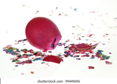 Shattered confetti egg.