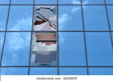 Shattered glass of an office building