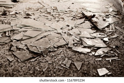 Shattered Glass on the Floor