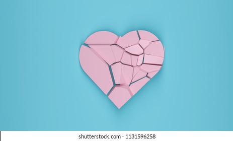 shattered pink heart on blue background pastel colors 3D render