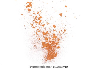 Shattered red brick dust isolated on white background