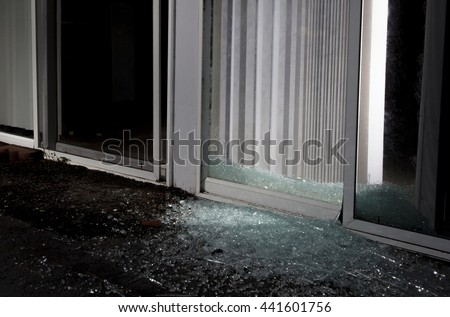 Shattered Sliding Glass Door After Attempted Stock Photo Edit Now