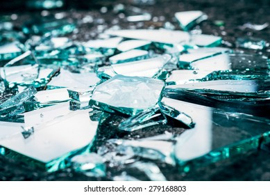 Shattered and splitted glass Pieces. Glass texture