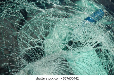 Shattered Windshield of Car