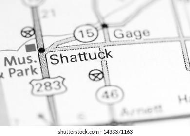 Shattuck. Oklahoma. USA on a map