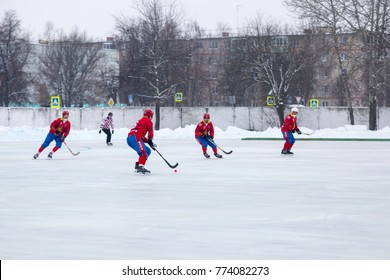 "SHATURA, MOSCOW REGION, RUSSIA - DECEMBER 09, 2017: Championship of Moscow region on bandy. Match between teams ""Energy"" Shatura and ""Filimonov"" Pavlovsky Posad."