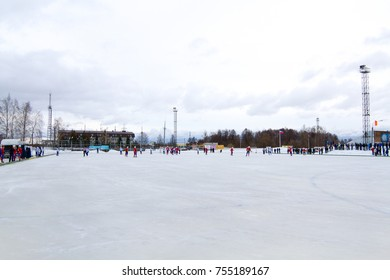 "SHATURA, RUSSIA - FEB, 25, 2017: Championship of Russia on bandy among the teams of Physical Culture. Match for 1st place. ""Energy"" (Shatura) beat the team ""Sevmash"" (Severodvinsk) with a score 4:2."