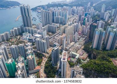 Shau Kei Wan, Hong Kong, 19 March 2019: Top down view of Hong Kong city