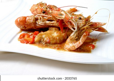 Shave with prawns