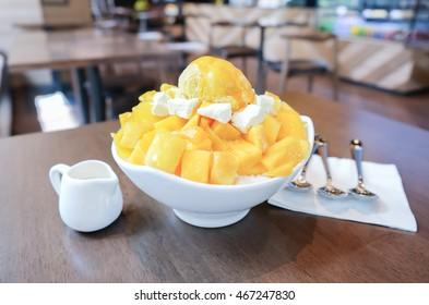 Shaved Ice dessert with Fresh Mango.
