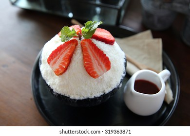Shaved ice with milk and strawberry