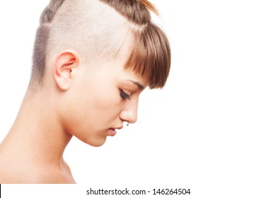 shaved young woman thinking on a white background