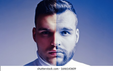Shaven vs unshaven man. After or before shaven. Set of bearded man. Hair style hair stylist for Handsome man. Barber shop set