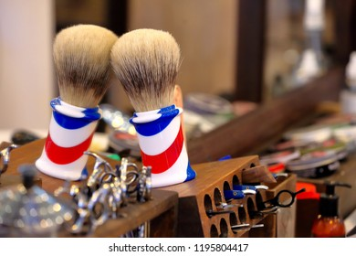 Shaving accessories in barber shop and empty space for text