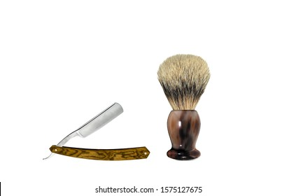 Shaving brush and straight razor isolated on white. Barber shaving brush and razor. Straight razor with shaving brush. Barber set isolated on white