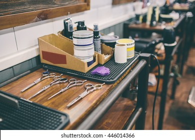 Shaving and haircuts accessories in a barber shop