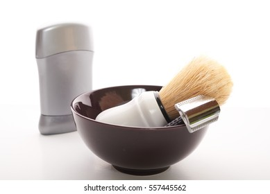 shaving tools on a white background