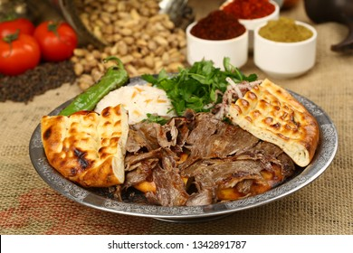 Shawarma Beef Turkish traditional doner kebap on plate