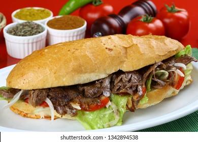 Shawarma Beef Turkish traditional doner kebap in bread