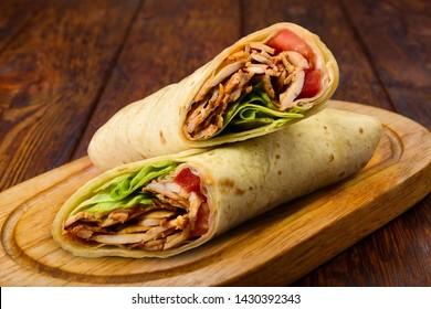 Shawarma Beef Turkish traditional doner kebap on plate