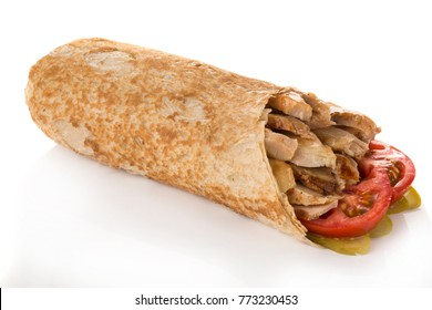 Shawarma with chicken and tomatoes
