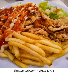 Shawarma, french fries and chicken kebab