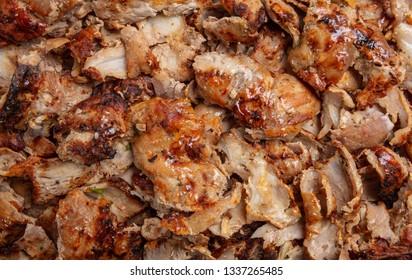 Shawarma, gyros texture background. Traditional turkish, greek meat food, closeup view