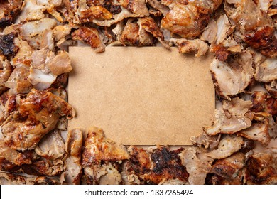 Shawarma, gyros, traditional turkish, greek meat food, background. Blank paper label, space for text
