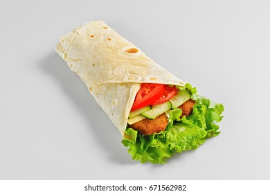 shawarma with vegetables and meat