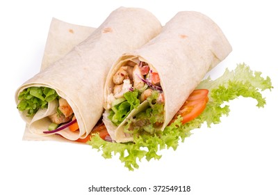 Shawarmas on lettuce isolated on a white background