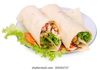 Shawarmas on lettuce on a white background