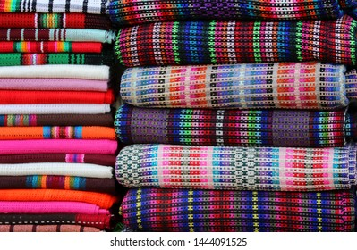 Shawls of different color in a market showroom