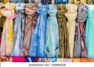 Shawls in a shop, pattern of colorful shawls