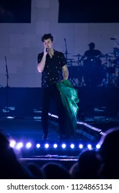 Shawn Mendes performing at Villa Mix on July 1, 2018 in Goiânia, GO.