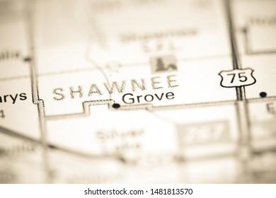 Shawnee. Kansas. USA on a geography map