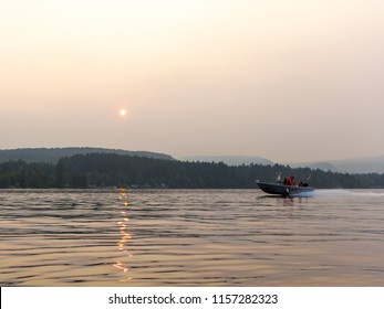 Shawnigan Lake, BC/Canada -August 15 2018: Fires in BC Fire Department boat