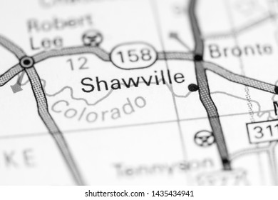 Shawville. Texas. USA on a map