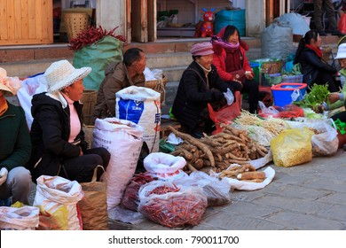 Shaxi, China. 12 01 2017. Traditional market in Shaxi China.